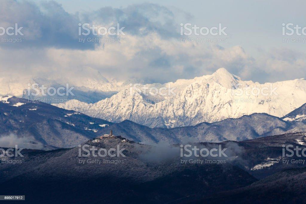 Julian Alps in winter stock photo