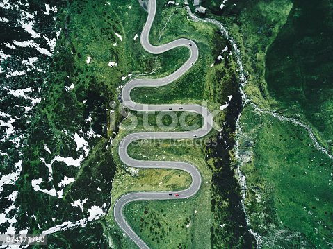julier pass road in switzerland