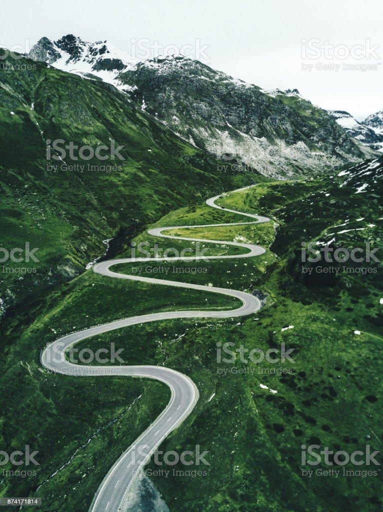 julier pass road in switzerland in autumn stock photo