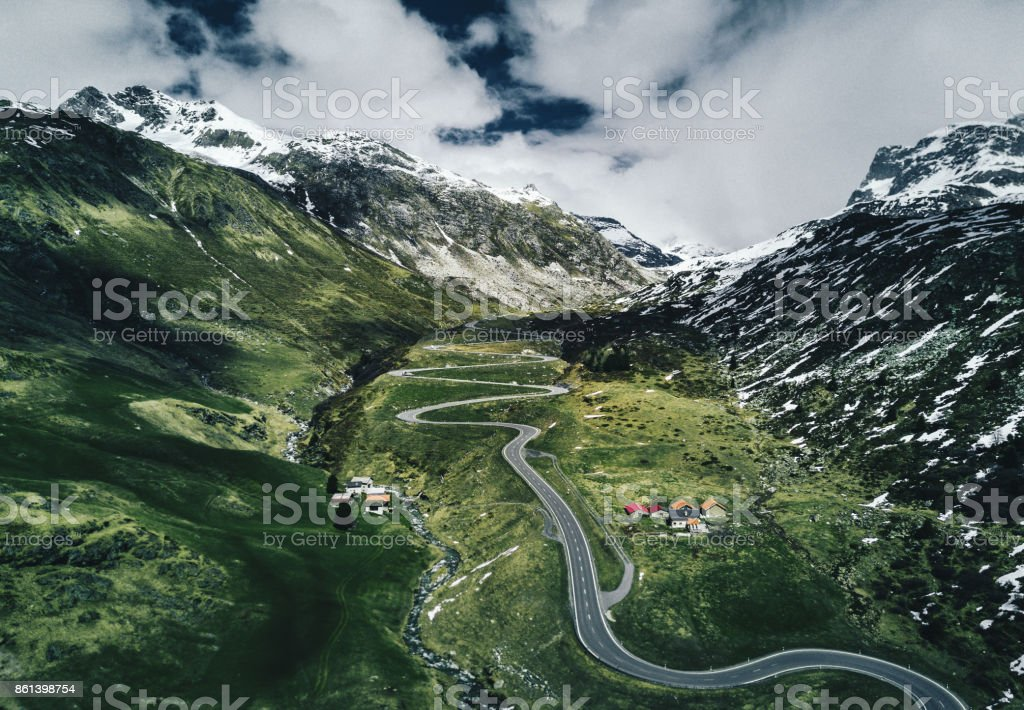 julier pass road in switzerland stock photo