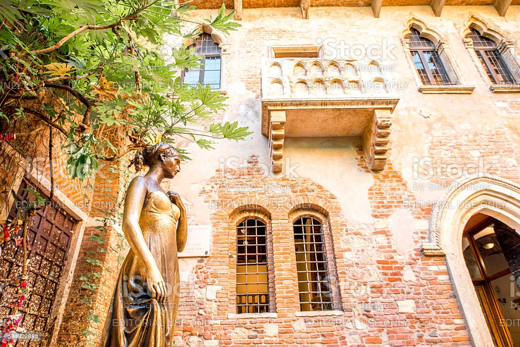 Juliet statue and balcony in Verona stock photo