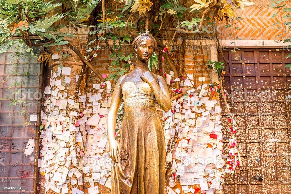 Juliet statue in Verona city stock photo