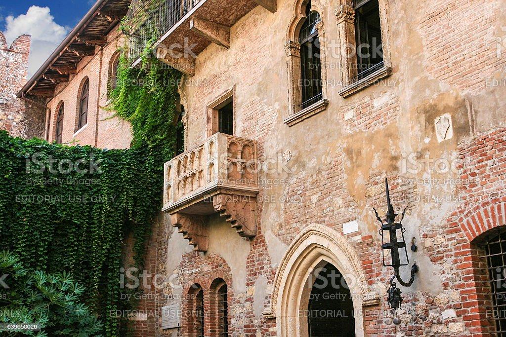 Juliet's Balcony (Romeo and Juliet, William Shakespeare), Verona, Italy. stock photo