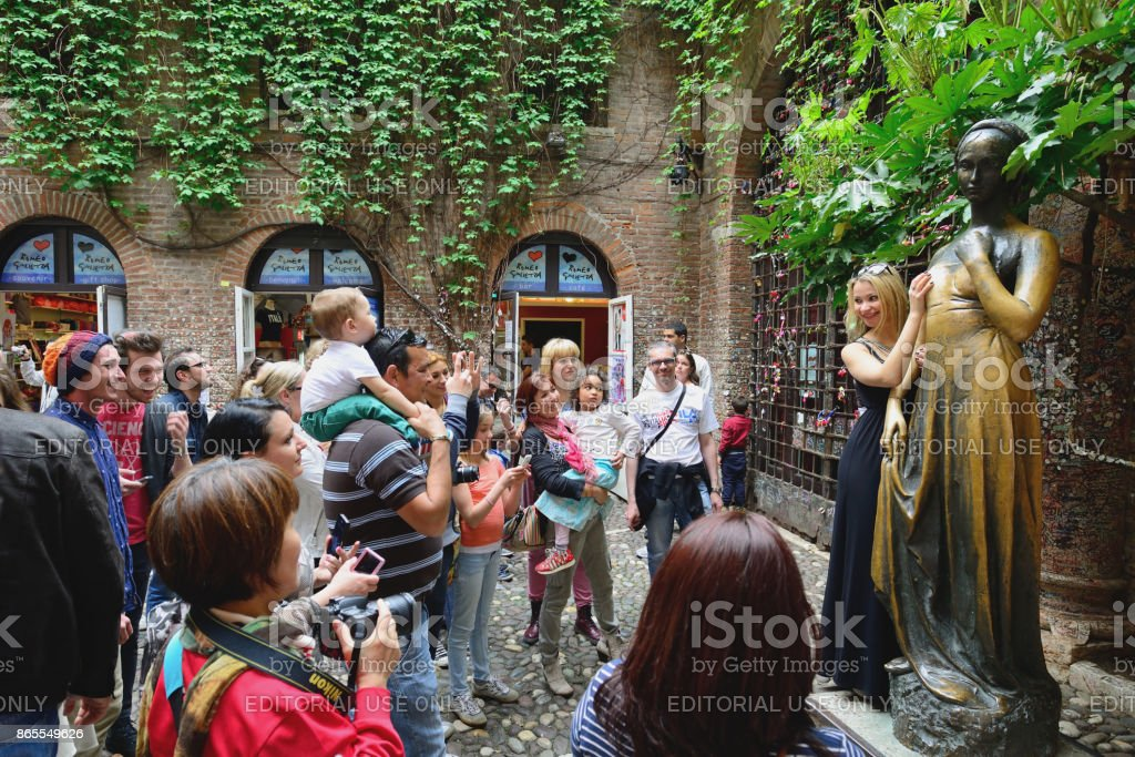 Juliet's statue in Verona, Italy stock photo