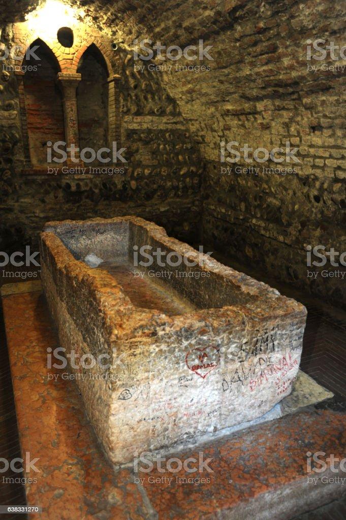 Juliet's tomb in Verona stock photo