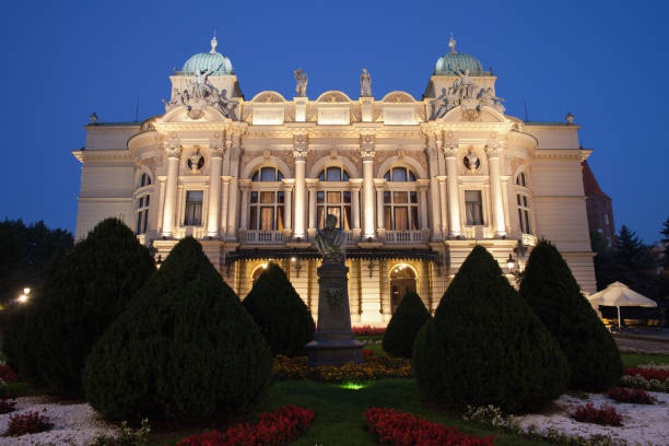 juliusz slowacki theatre by night in krakow - eastern european culture stock photos and pictures