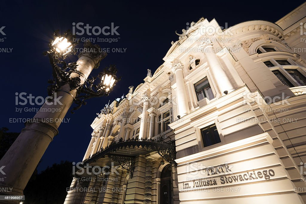 Juliusz Słowacki Theater in Krakow, Poland at night stock photo