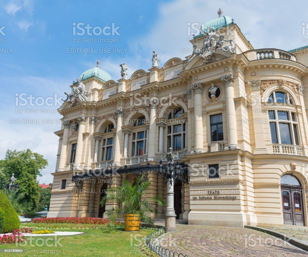 Juliusza Slowacki Theater in Krakow, Poland stock photo