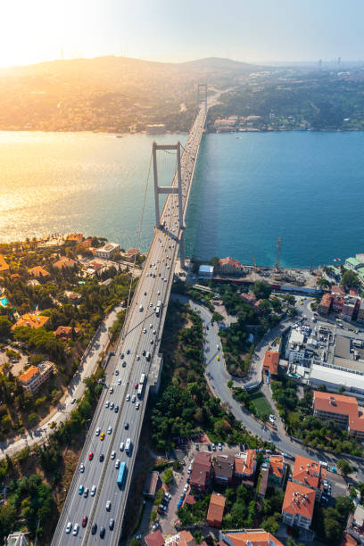 July 15 Martyrs' Bridge in İstanbul Aerial view of July 15 Martyrs' Bridge in İstanbul. bosphorus stock pictures, royalty-free photos & images