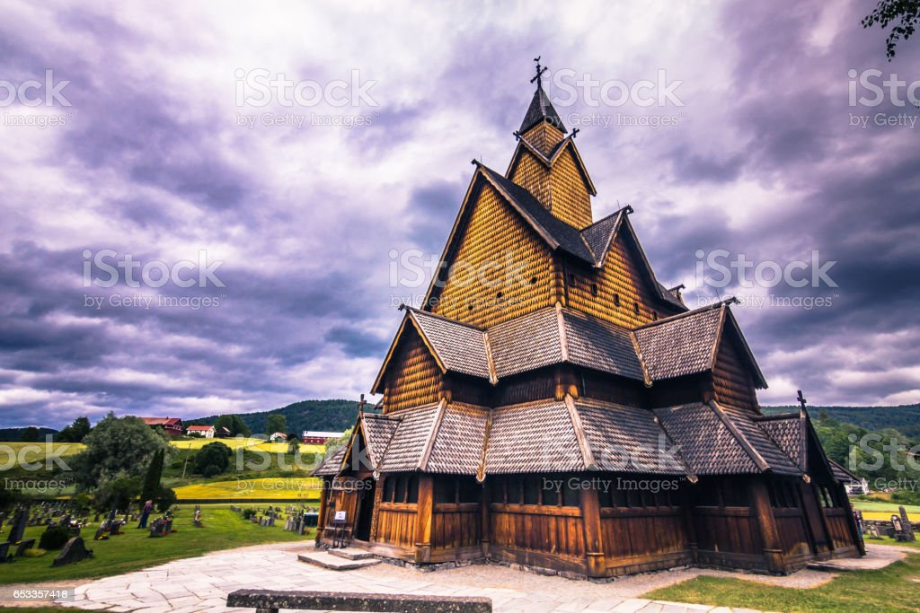 July 18, 2015: Facade of Heddal Stave Church in Telemark, Norway stock photo