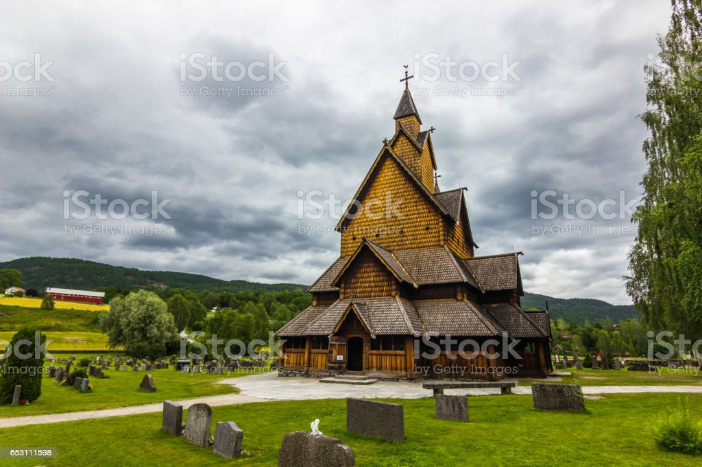 July 18, 2015: Frontal view of the Stave Church of Heddal, Norway stock photo