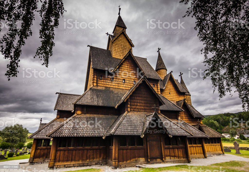 July 18, 2015: Sideview of the Stave Church of Heddal, Norway stock photo
