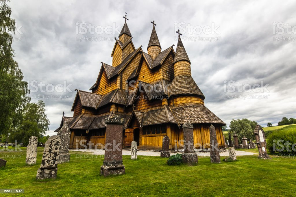 July 18, 2015: The Stave Church of Heddal, Norway stock photo