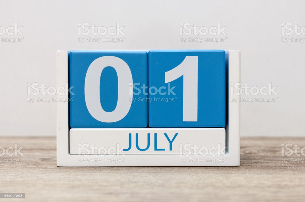 July 1st. Image of july 1, calendar on white background. Summer day. Empty space for text stock photo