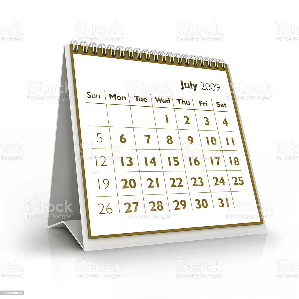 July. 2009 3D calendar stock photo