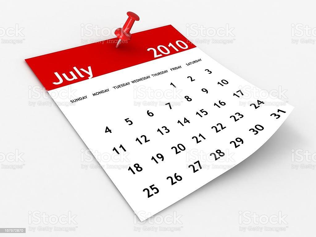 July 2010 - Calendar series royalty-free stock photo