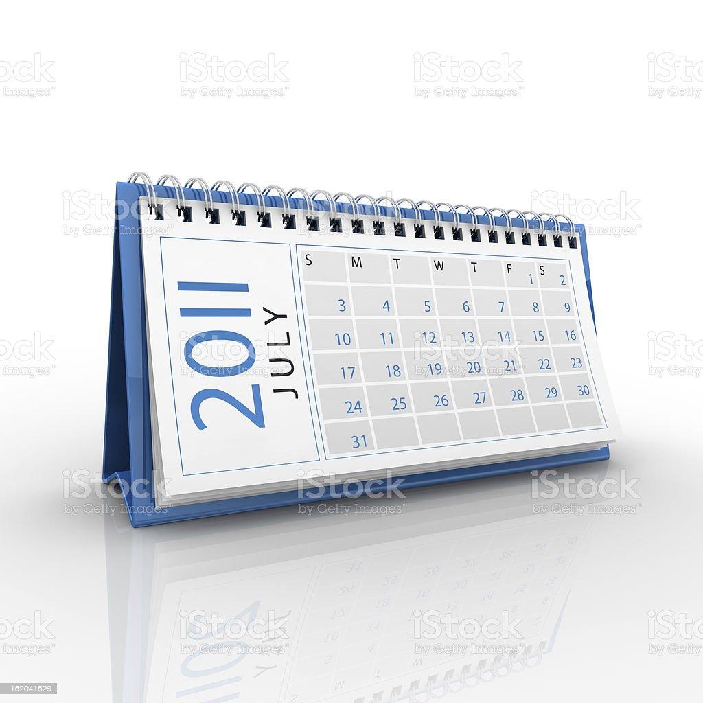 July 2011 calendar royalty-free stock photo