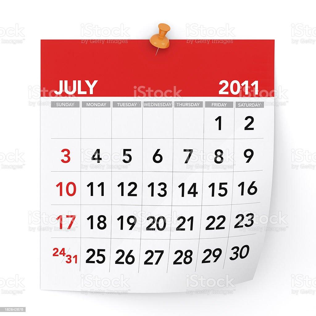 July 2011 - Calendar royalty-free stock photo