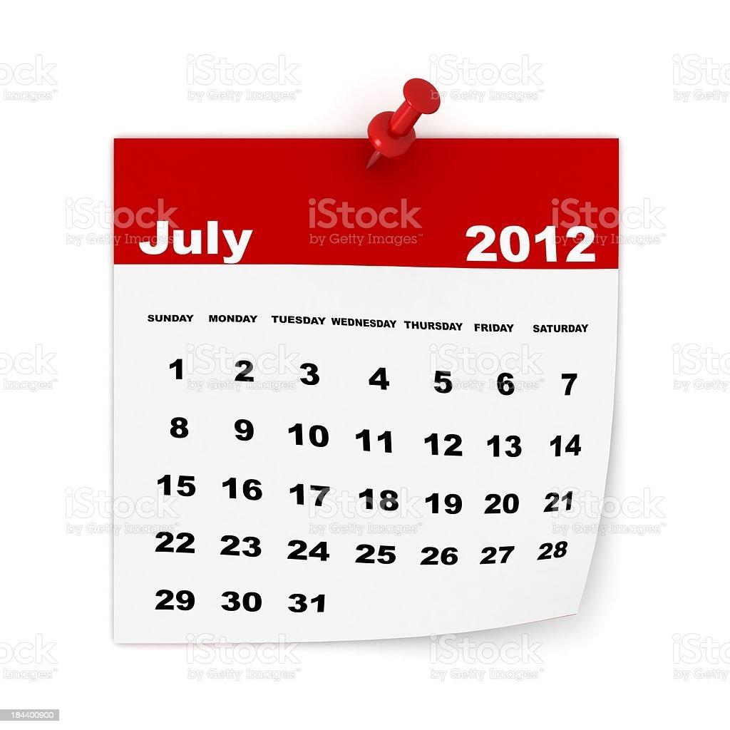July 2012 Calendar royalty-free stock photo