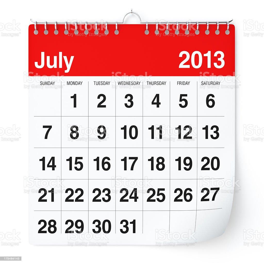 July 2013 - Calendar royalty-free stock photo