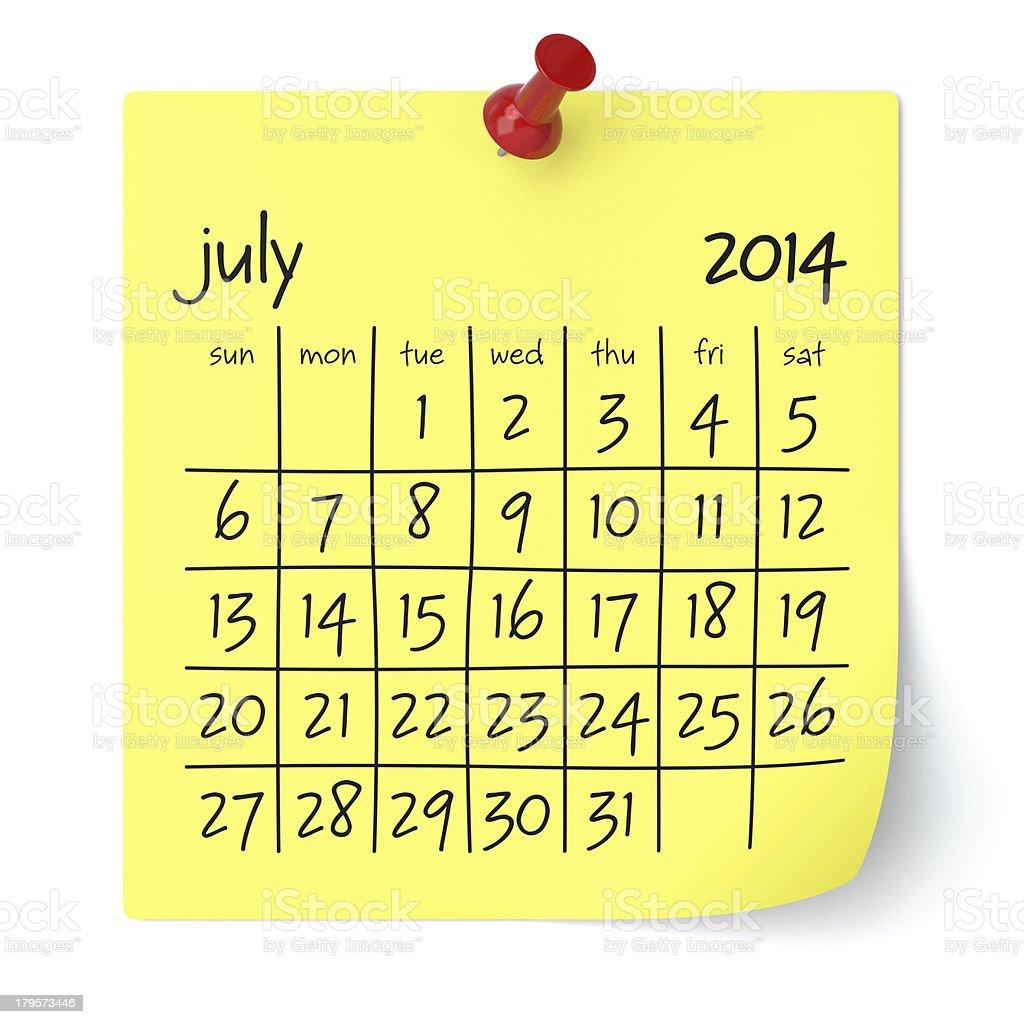 July 2014 - Calendar royalty-free stock photo