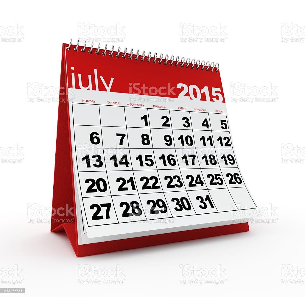 July 2015 calendar stock photo