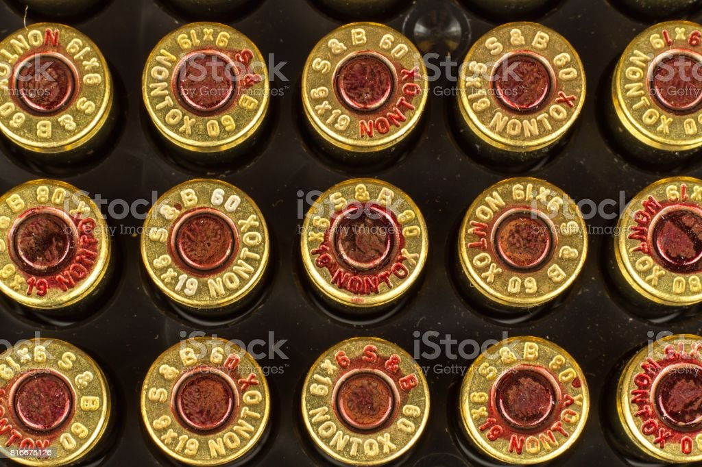 BRNO, CZECH REPUBLIC -15 July, 2017: Ammunition caliber 9x19mm. Sellier & Bellot has produced ammunition in the Czech Republic since 1825. A detailed look at the designations of the cartridges. stock photo