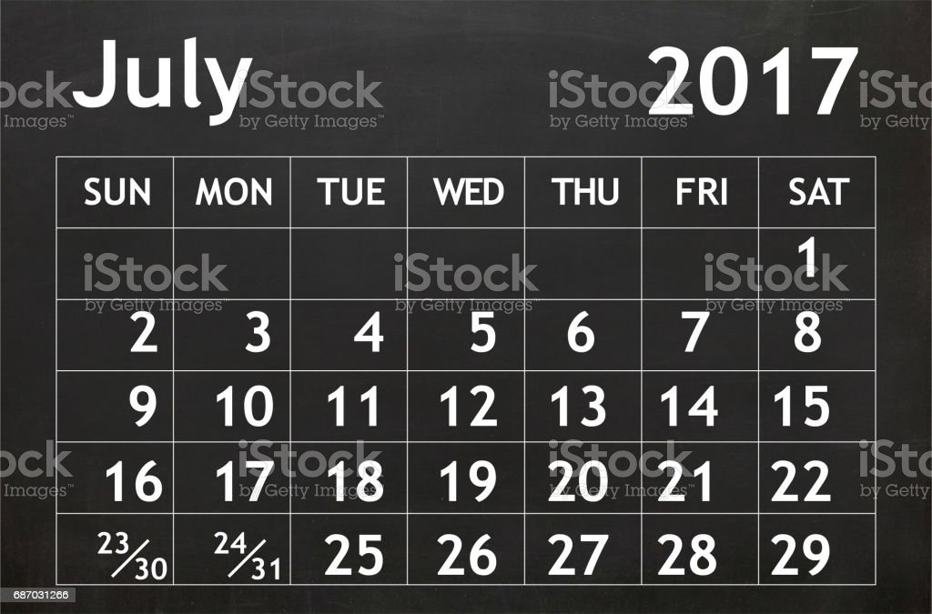 Juli 2017 Kalender Tafel Lizenzfreies stock-foto