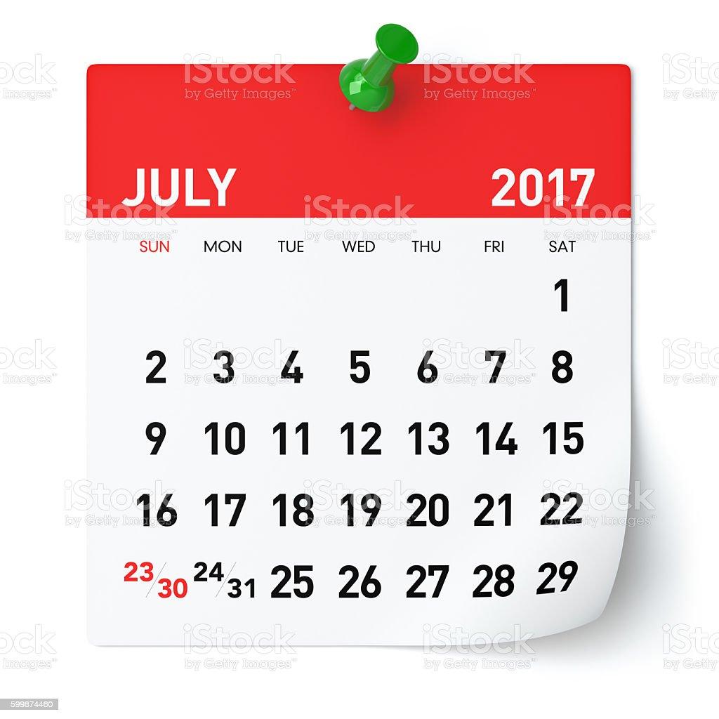 July 2017 - Calendar stock photo