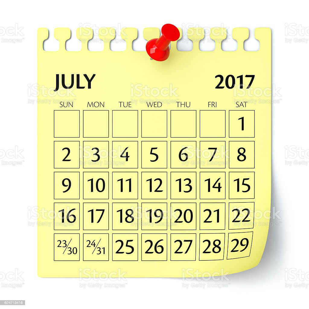 July 2017 Calendar Stock Photo - Download Image Now - iStock