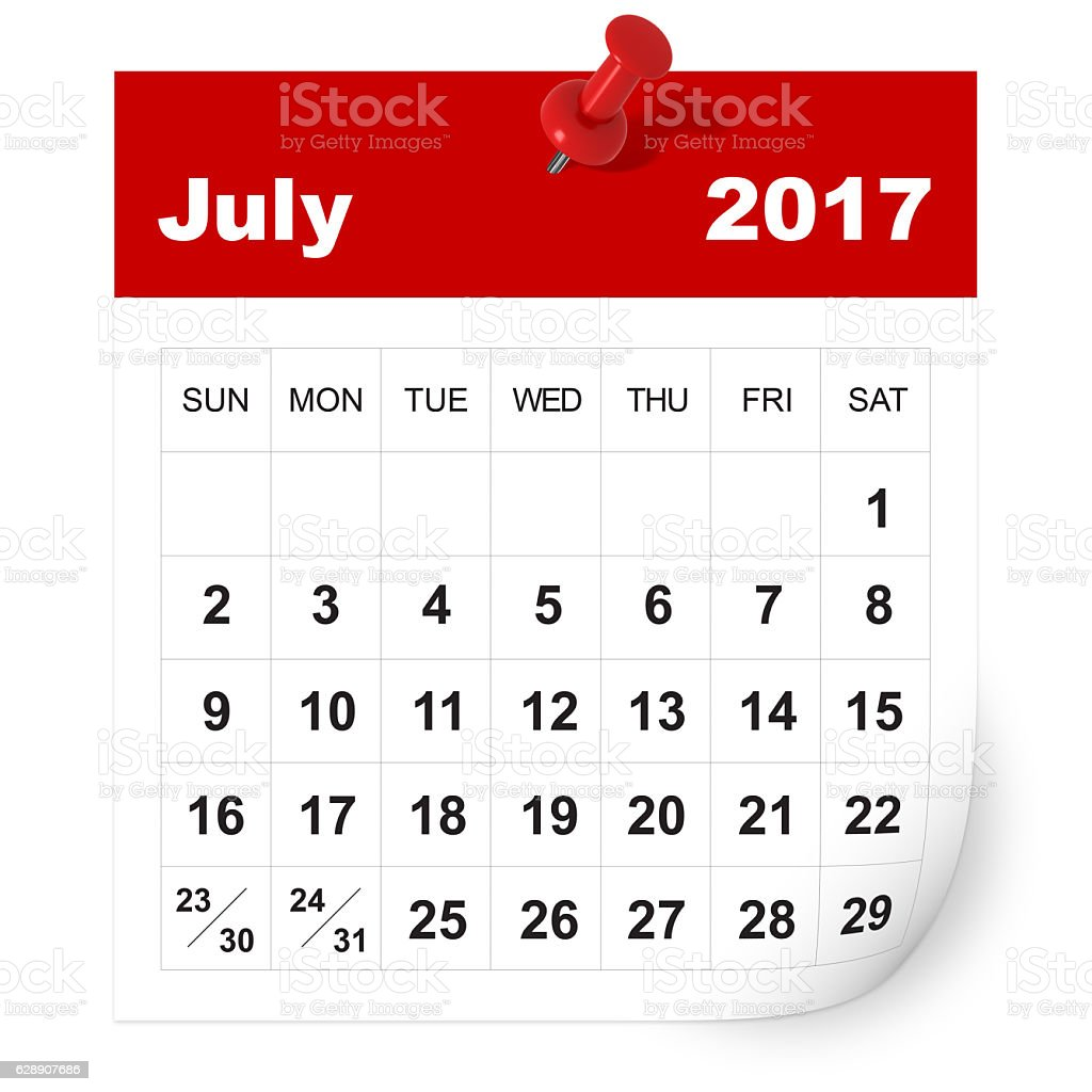 July 2017 calendar stock photo