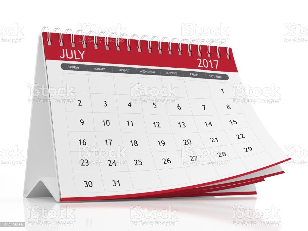 July 2017 Desktop Calendar on White Background stock photo