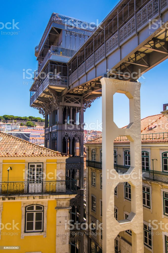 10 July 2017 - Lisbon, Portugal. The Santa Justa Lift also called Carmo Lift is an elevator in Lisbon stock photo