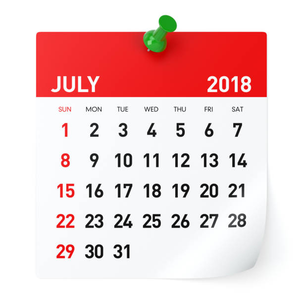 july 2018 - calendar - july stock photos and pictures
