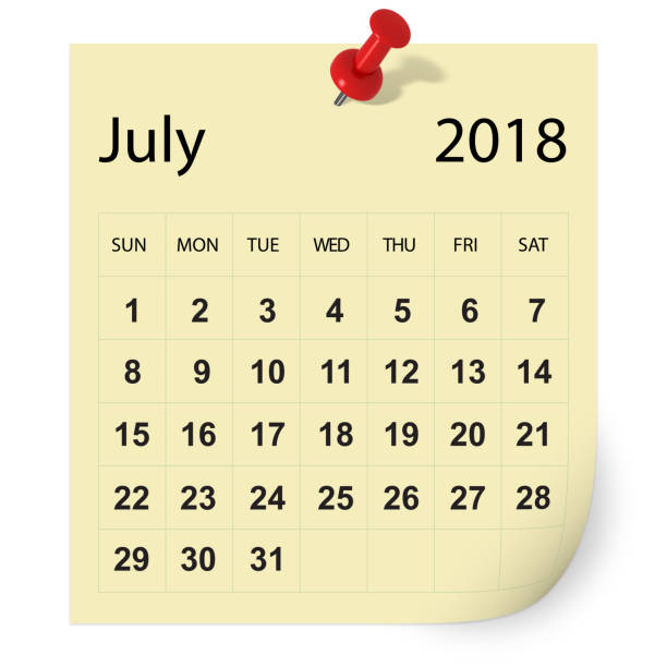 july 2018 calendar - july stock photos and pictures