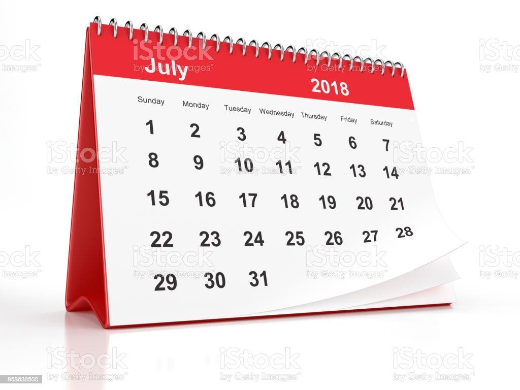 Fotografía de Julio De 2018 Plástico Rojo Enmarcado El Calendario De ...
