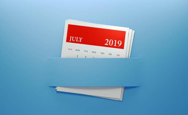 juli 2019 kalender in blauem hintergrund eingefügt - planner inserts stock-fotos und bilder