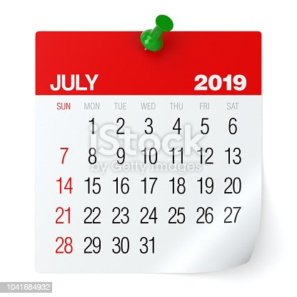 July 2019 - Calendar. Isolated on White Background. 3D Illustration