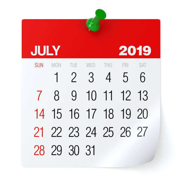 juillet 2019 - calendrier. - calendrier digital journée photos et images de collection