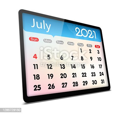 (Clipping path) July 2021 calendar on digital tablet isolated