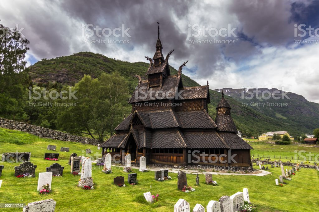 July 23, 2015: Panorama of the Stave Church of Borgund, Norway stock photo