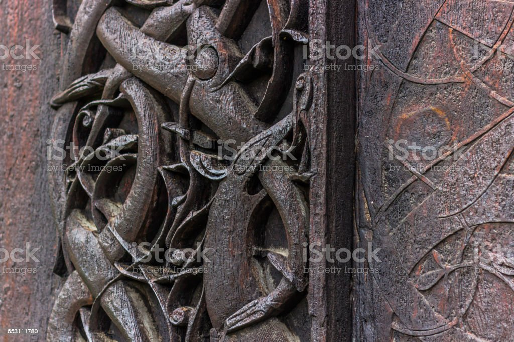 July 24, 2015: Detail of the wall of the Urnes Stave Church, Norway stock photo