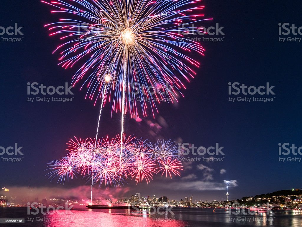 July 4 fireworks at Lake Union seattle stock photo