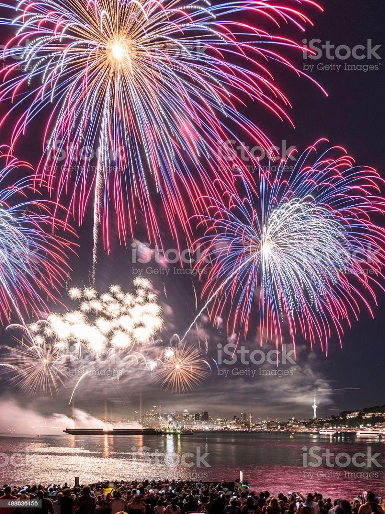 July 4 fireworks at Lake Union seattle stock photo