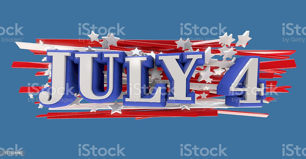 July 4 icon colored in the American flag colors stock photo