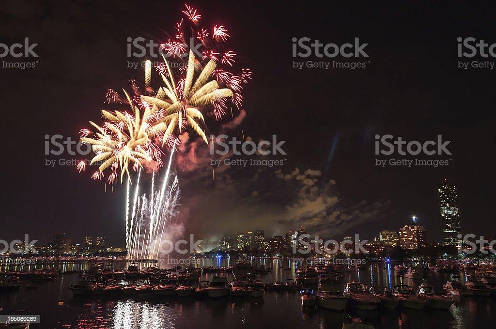 July 4th Fireworks, Boston royalty-free stock photo