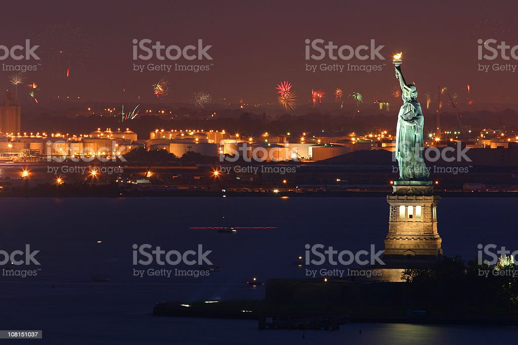 July 4th Fireworks, New York, Statue of Liberty stock photo