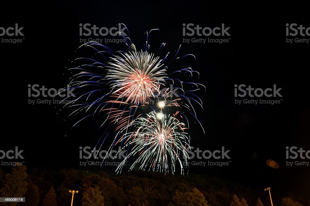 July 4th fireworks red white and blue stock photo