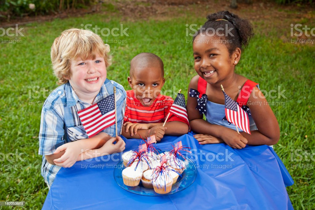July 4th or Memorial Day picnic celebration stock photo
