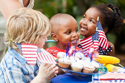 July 4th Or Memorial Day Picnic Celebration Stock Photo - Download Image Now